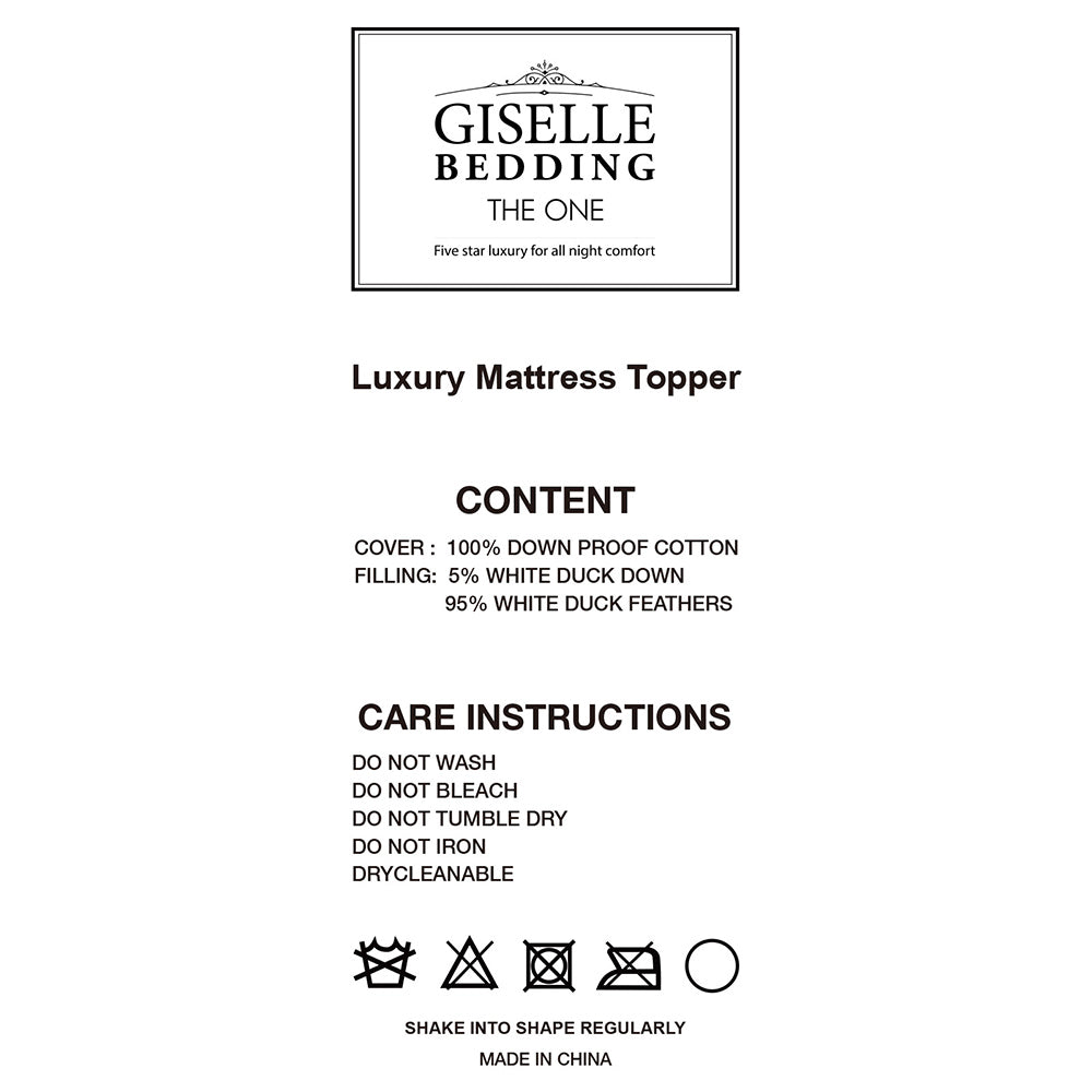 Giselle Bedding King Single Size Duck Feather & Down Mattress Topper