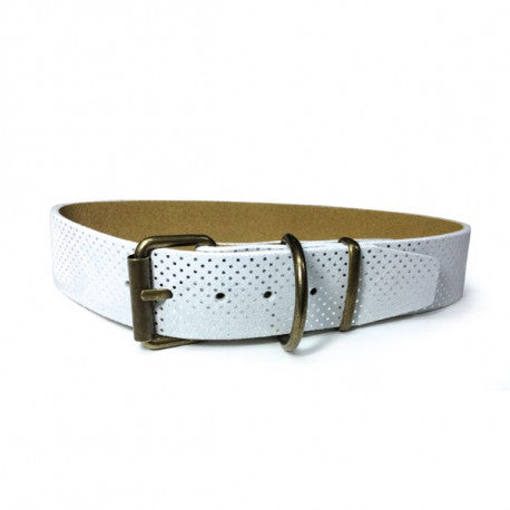 Collar Cuero Topitos Blanco 55cm - Art Leather