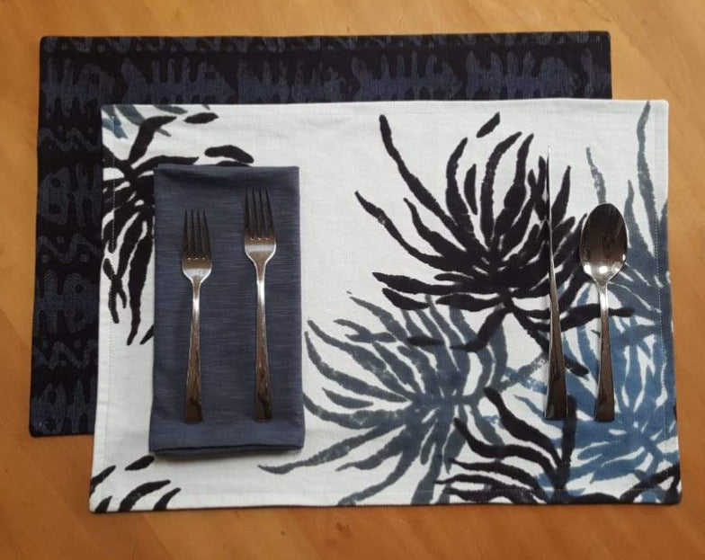 Hand Painted Placemats, Table Runner or Napkins -Sea Fern/Hungry Fish