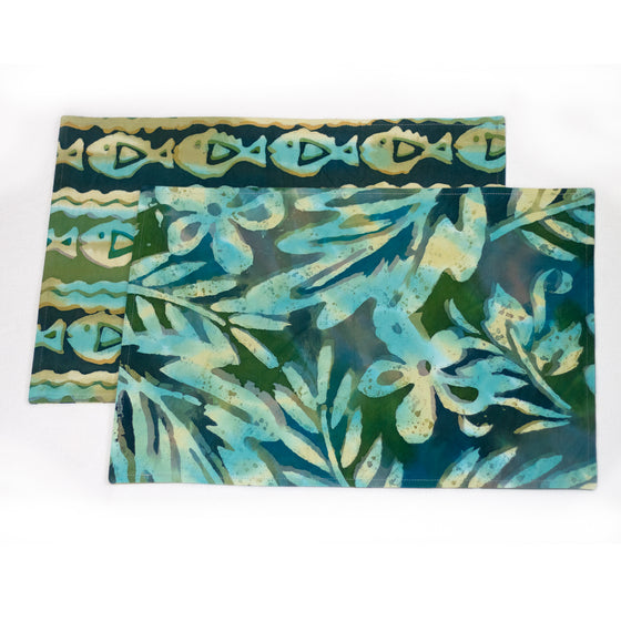 Hand Painted-Placemats and Napkins - LilyPond/PiranhasParade