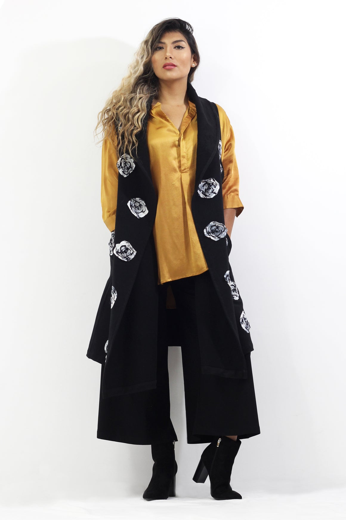 Frenchish Soie - Appliqué Vest, Silk Blouse and Palazzo Crops - Separates