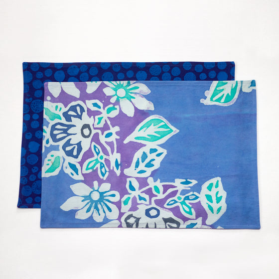 Hand Painted Placemats or Napkins - Floral Reef/Blue Bubbles