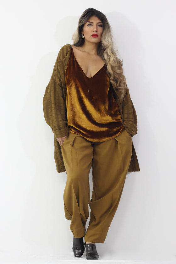Golden Bronze  - Biggy Short Jacket+Gold Velvet Cami+My Guy Pant- Separates