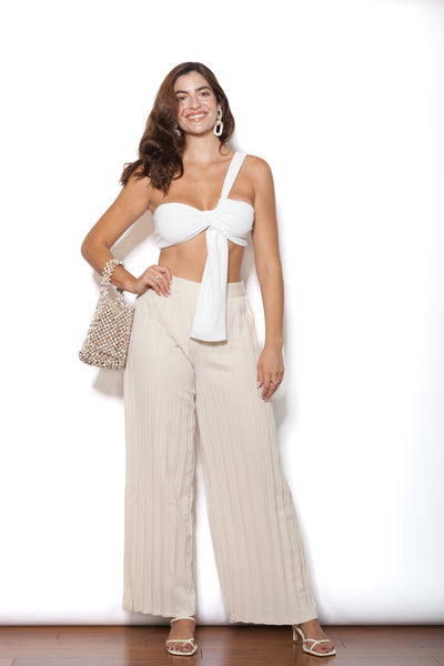 Pleated Ivory Pants Front