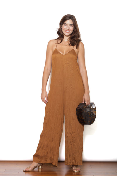 Brown Jumpsuit with Bag