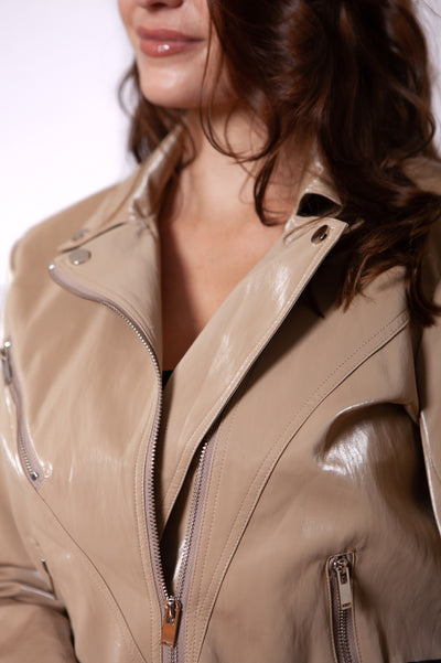Beige Moto Jacket Close Up