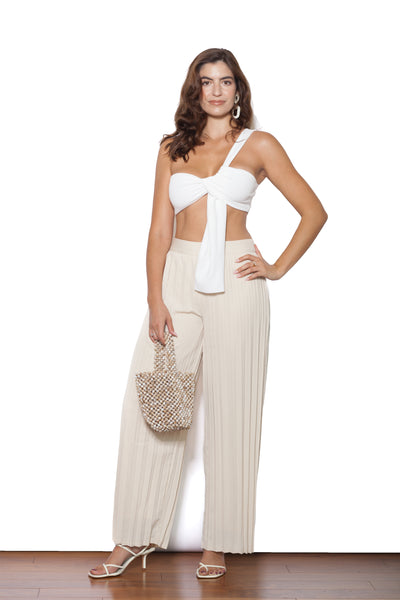 Pleated Ivory Pants Front Body
