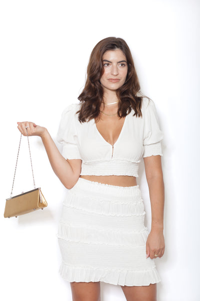 White Linen Shirt And Skirt Set Front