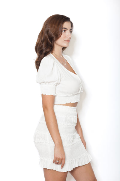 White Linen Shirt And Skirt Set Side Profile