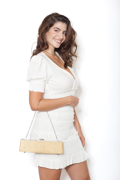 White Linen Shirt And Skirt Set Side