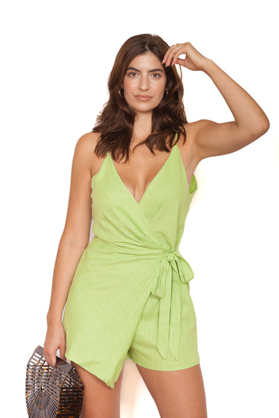 Lime Green Romper Front
