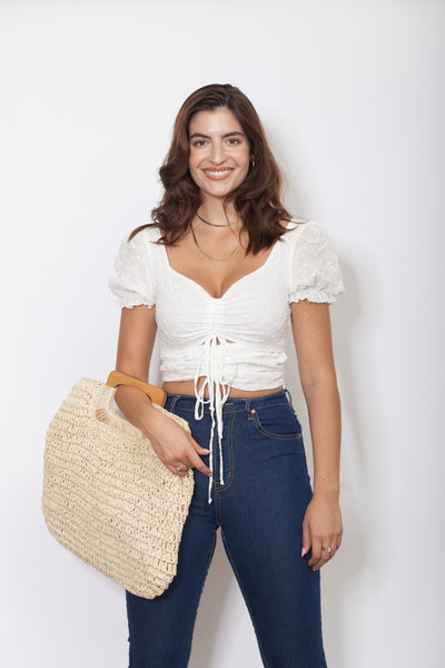 Eyelet Crop Top Front