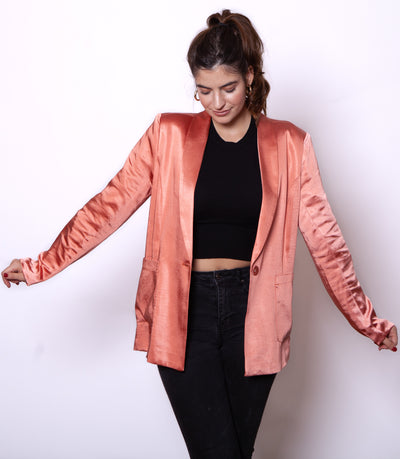 Pink Satin Blazer Side