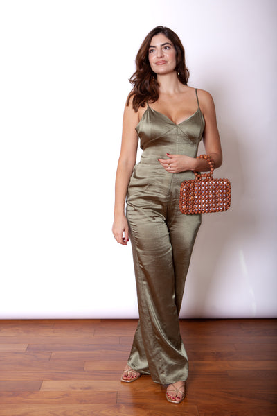 Green Satin Jumpsuit Full Body