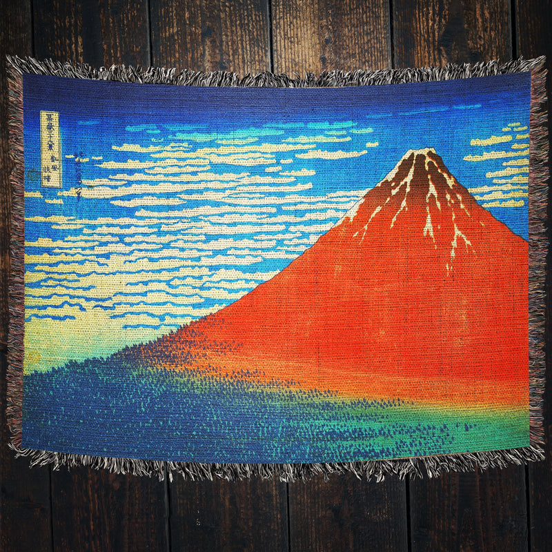 Japanese Mountain Landscape Throw Blanket