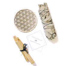 Load image into Gallery viewer, Joyster 心靈套裝 生命之花木牌 + 印加聖木 + 白鼠尾草 +金屬貼紙 · Mindful Set Wooden Flower of Life + Palo Santo + White Sage + Sticker