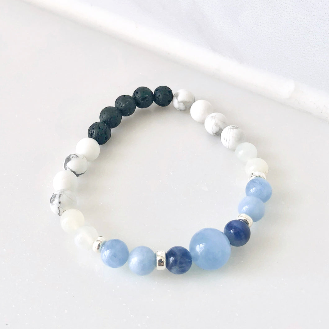 Calm 海藍寶白紋石心靈手鏈 ·  Joyster Calm Mindful Bracelet