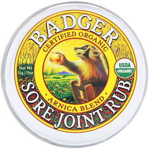 Badger 有機關節疼痛舒緩膏 - 山金車混合配方 · Badger Organic Sore Joint Rub - Arnica Blend (21g)