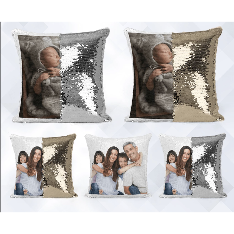 Personalized Sequin Photo Print Pillow (Imported)