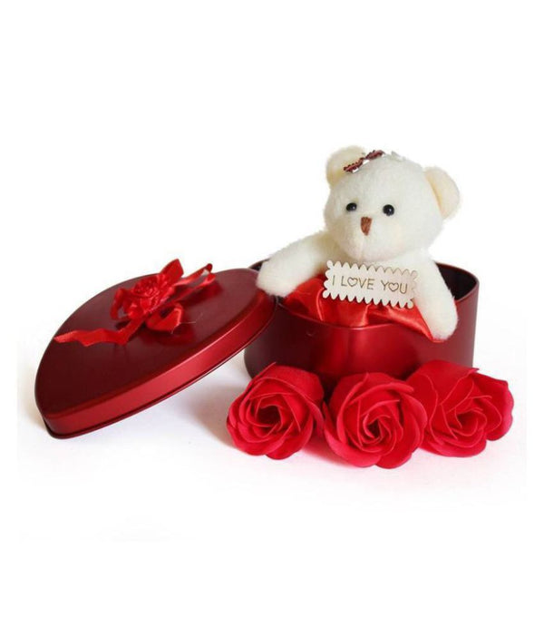 Heart Shape Box with Cute Teddy & Flowers
