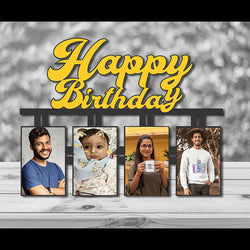 Happy Birthday Wooden Frame With Pictures