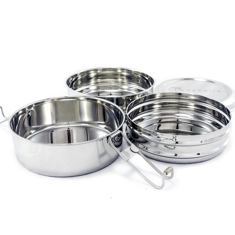 Round Tiffin Style 3-Tier Stainless Steel Lunch Stacker