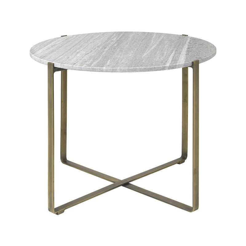 Objet Marble & Brass Round Coffee Table