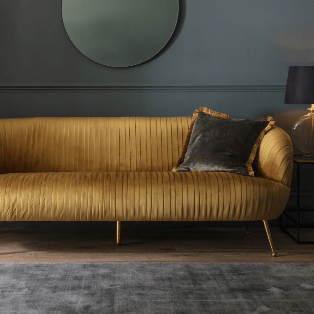 Valencia Golden Velvet Deco Sofa