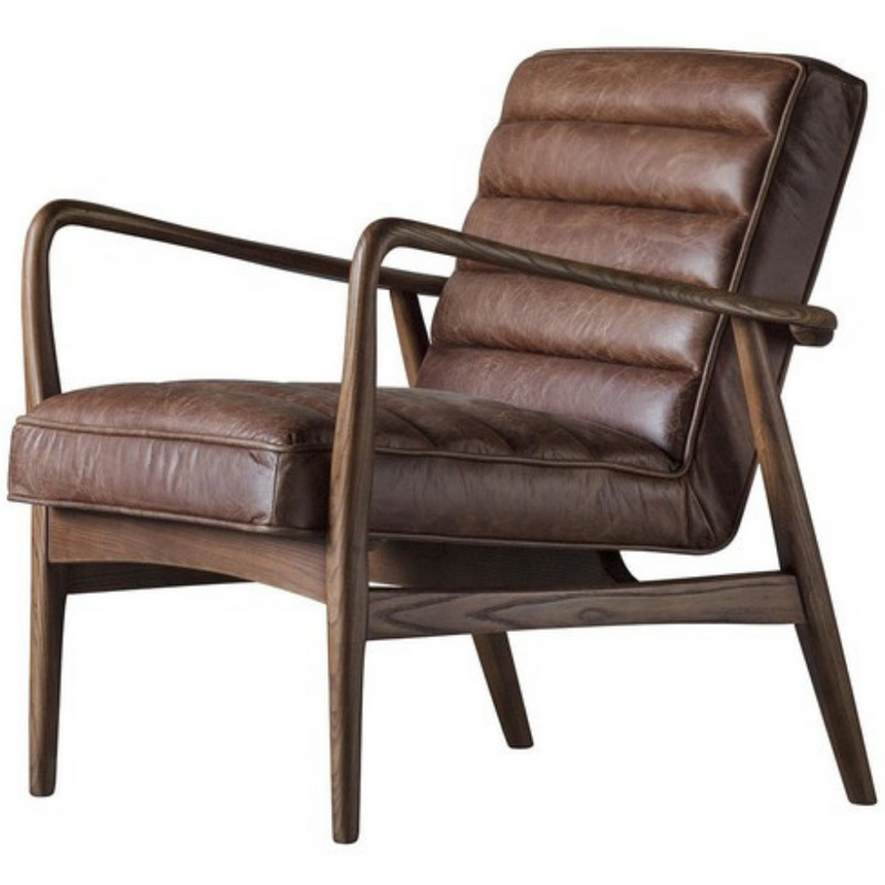 Bergen Mid-Century Leather Lounge Chair