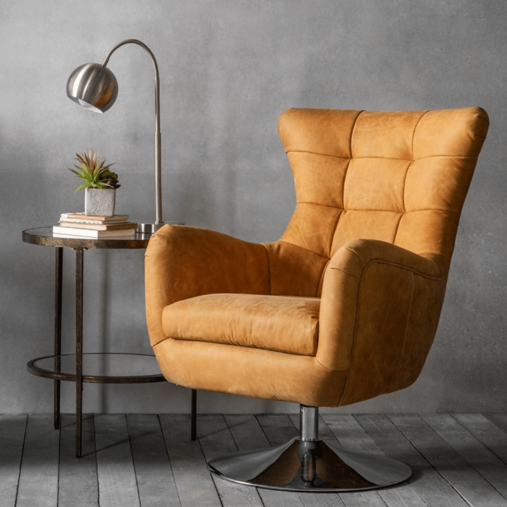 Henley Tan Leather Swivel Chair