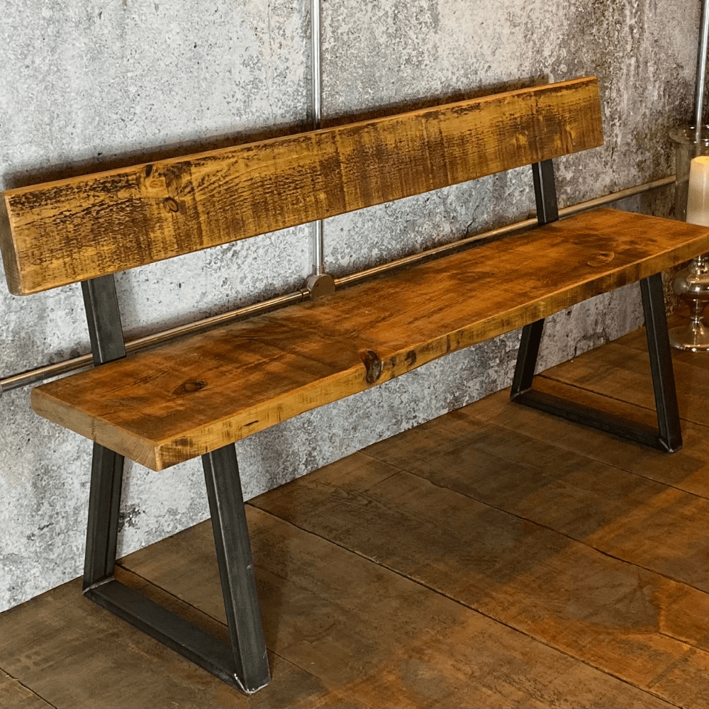 Pre-Christmas Delivery - Industrial Bench with Back - Tri Base