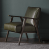 Harper Vintage Green Leather Armchair