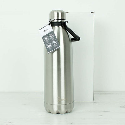 Brushed Steel Insulated Stainless Steel Bottle by Qwetch
