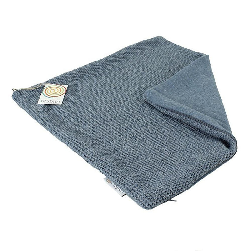 Knitted Square Recycled Wool Cushion - Denim Blue