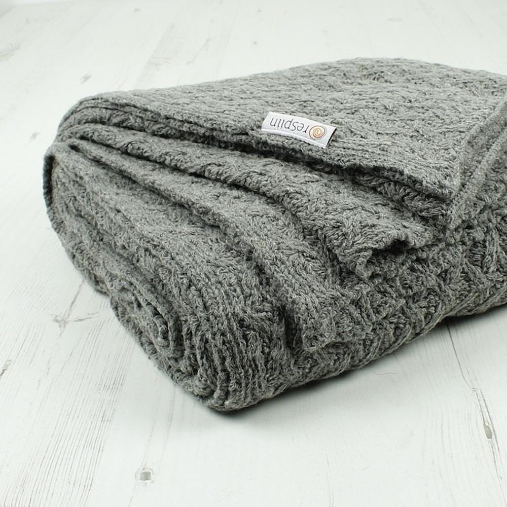 Chunky Knitted Recycled Wool Throw - Grey