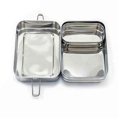 Large 2-Tier Stainless Steel Lunch Stacker Box With Mini Pod