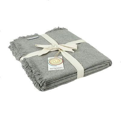 Recycled Wool Throw with Fringe - Light Grey