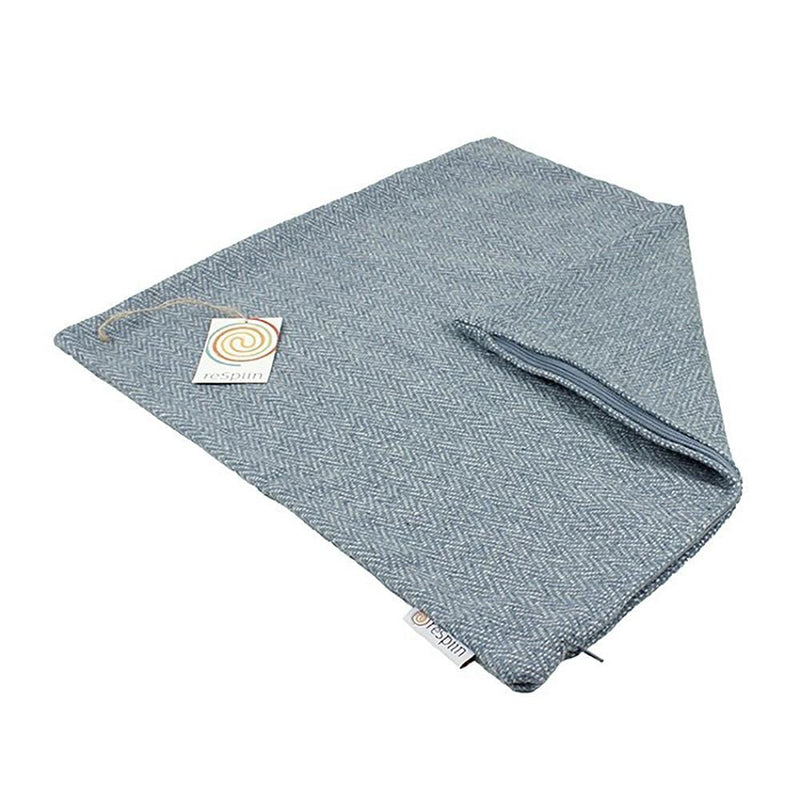 Zig Zag Square Recycled Wool Cushion Cover - Denim Blue & Grey