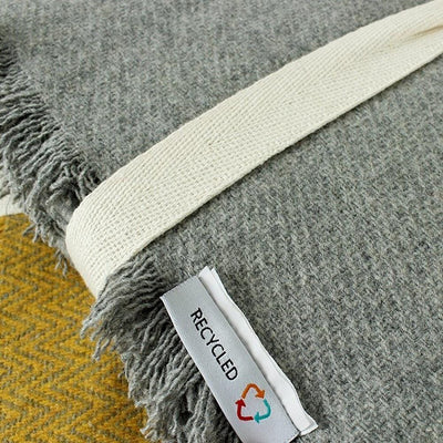 Zig Zag Square Recycled Wool Cushion - Mustard Yellow & Grey