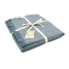 Zig Zag Recycled Wool Throw with Fringe - Blue Denim & Grey