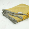 Zig Zag Recycled Wool Throw with Fringe - Mustard Yellow & Grey