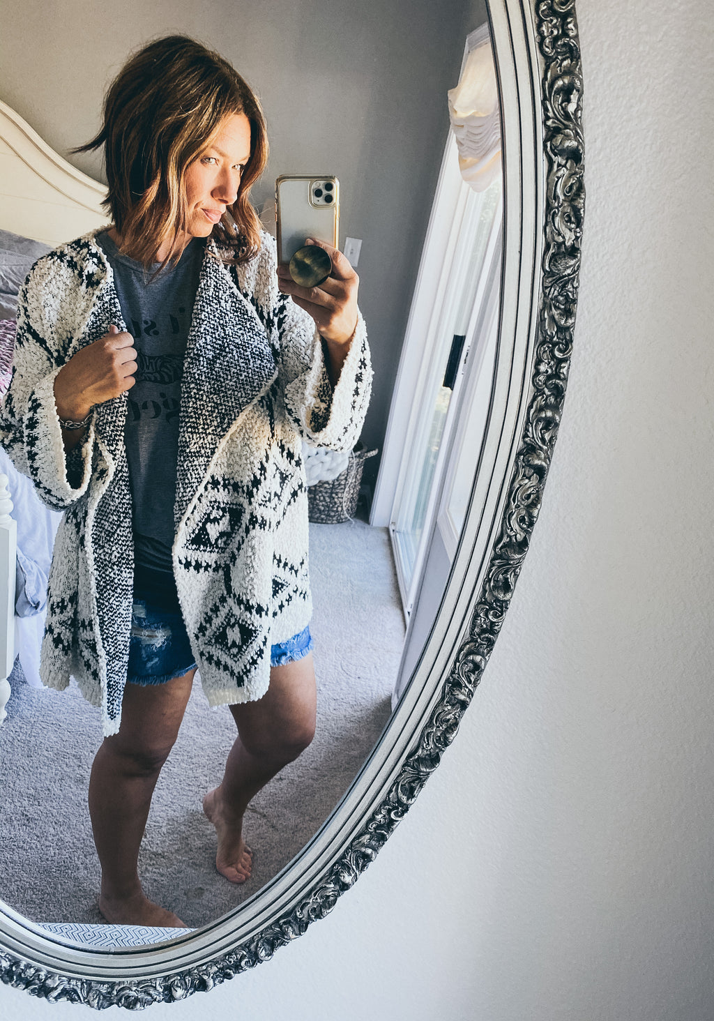 Black and White Aztec Boho Cardi