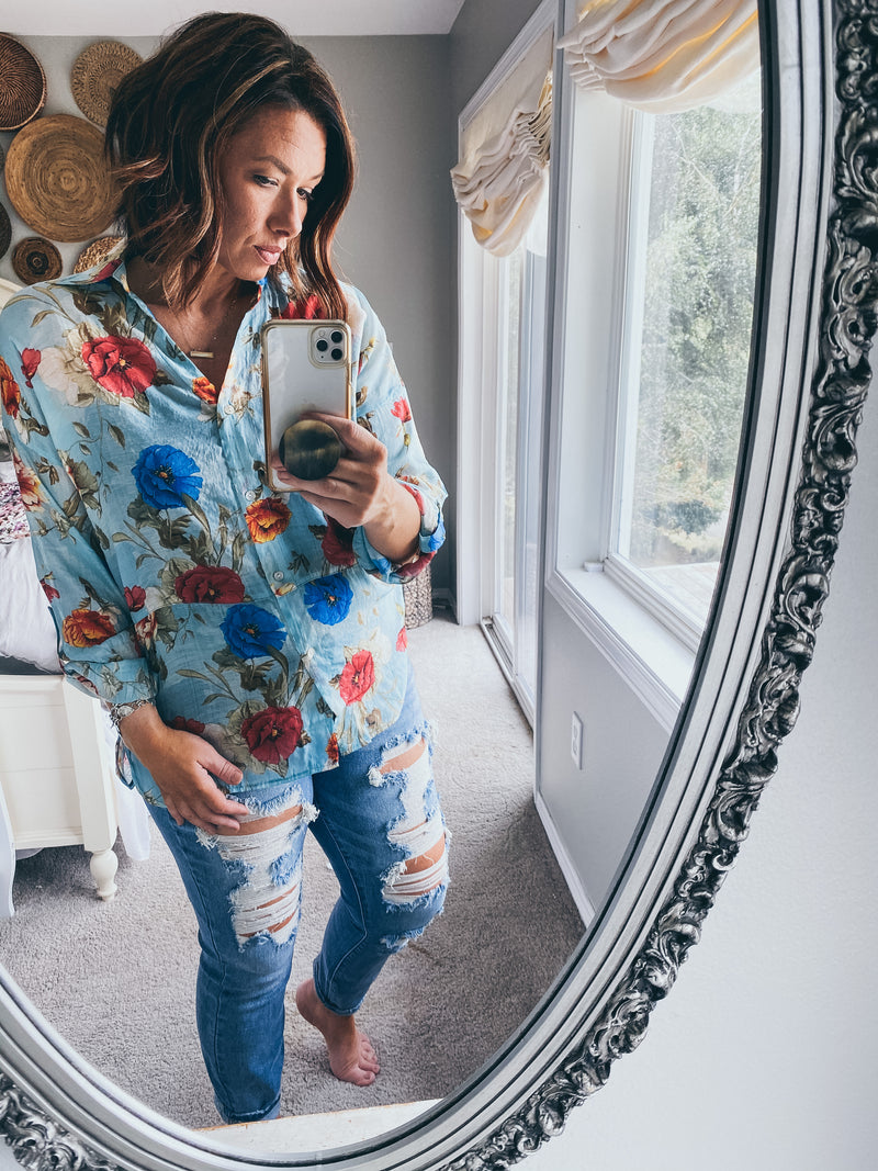 Rustic Floral Button Down