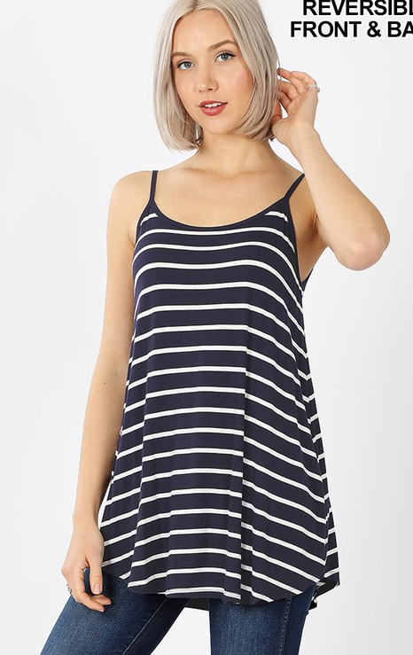 Navy and Ivory Stripe Reversible Cami