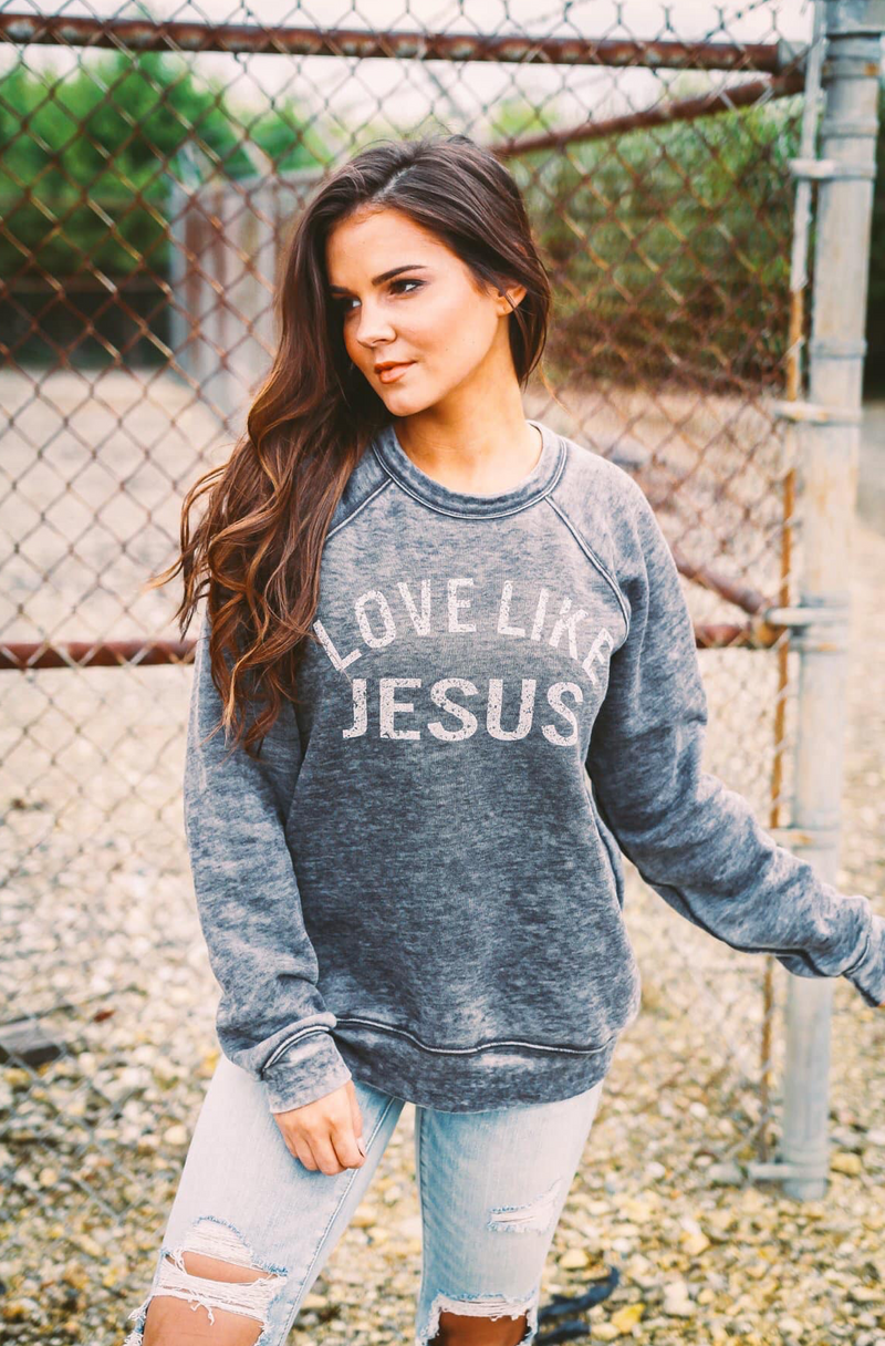 Love Like Jesus Acid Wash Pullover