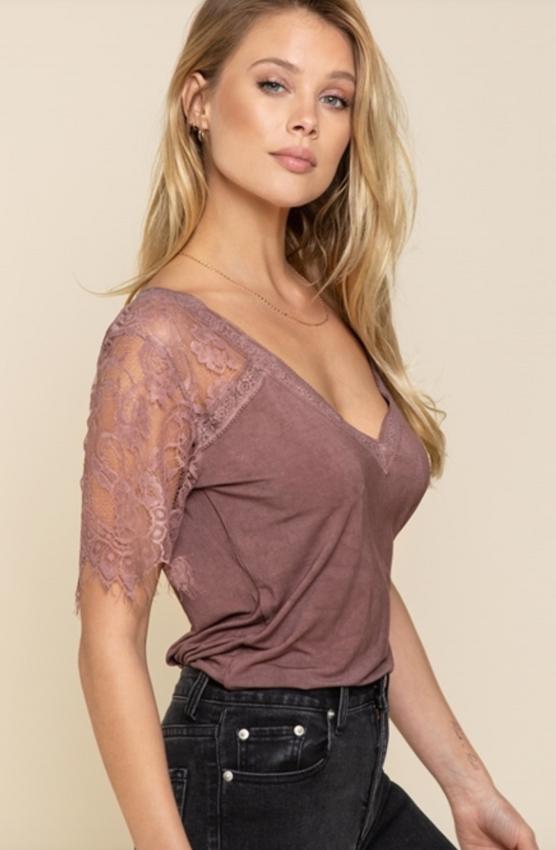 Lace Sleeve Mineral Wash V Neck by POL