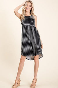 Striped Sleeveess Midi Dress