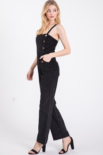 Suede Button Jumpsuit