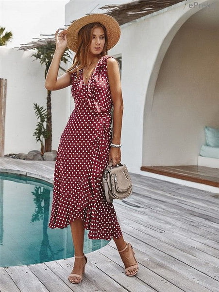 Red Polka-Dot Wrap Dress