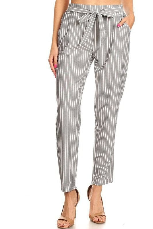 Grey Tie Waist Striped Tapered Pants